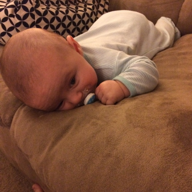 Does anyone know why my 15 week old won't lift his head yet during tummy  time?