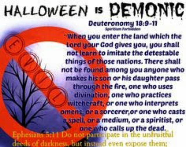 as christians we shouldnt celebrate halloween is satanic and evil there is so much than halloween if you love god dont celebrate this pagan tradition
