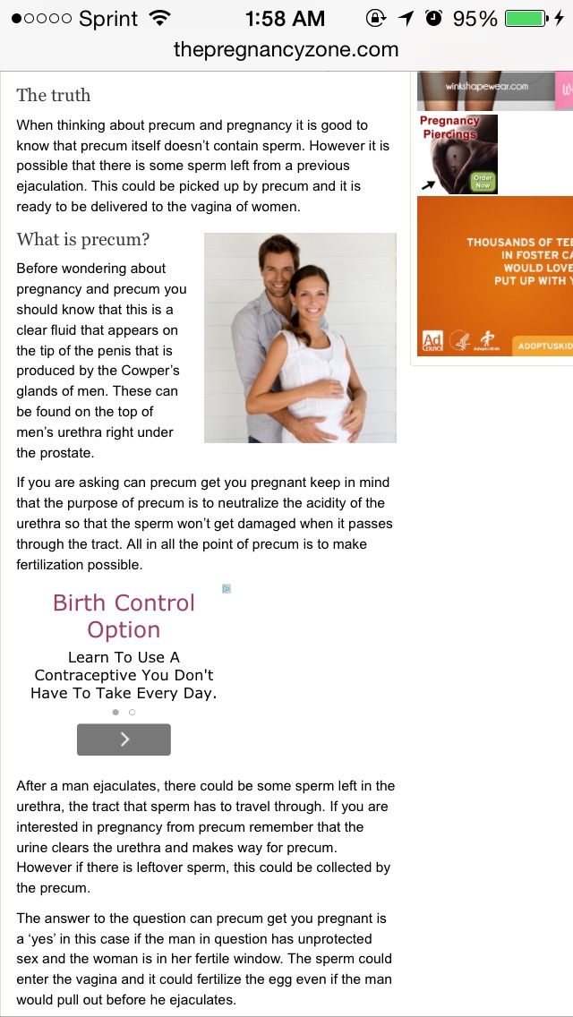 Apologise, but, How can you get pregnant from precum theme