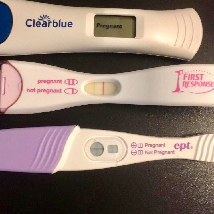 """Took another test """"EPT"""" along with the other 2 from last week. 3 positive  test & 5 days late! A little over 4 weeks!! Due Aug 10th!! Baby buddy?"""