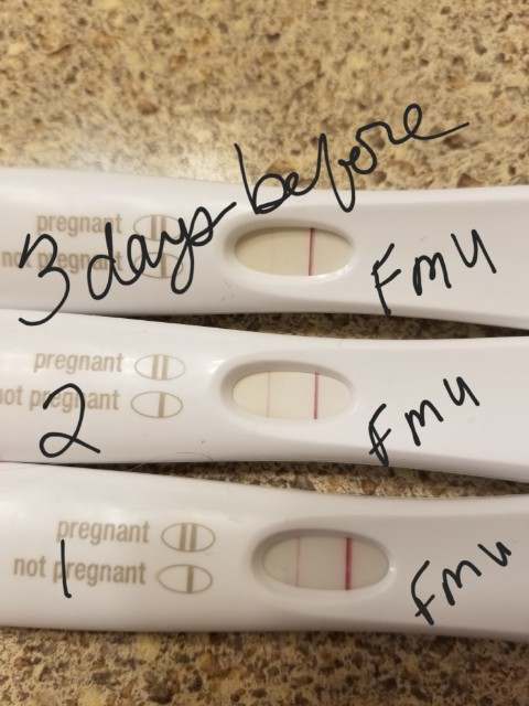 Did not take Clear Blue. 1 day before missed period, all three were  positive with FMU (Clear Blue not pictured). Day of missed period: positive  easy@home ...